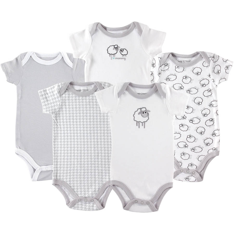 Luvable Friends Newborn Baby Unisex Bodysuits, 5-Pack