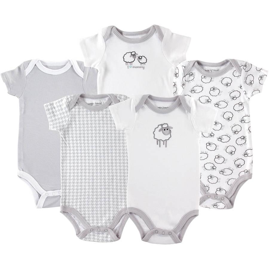 Luvable Friends Newborn Baby Unisex Bodysuits, 5-Pack