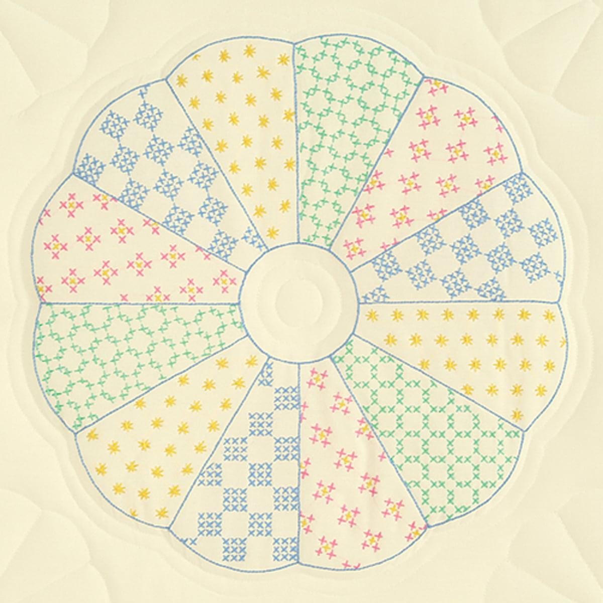 "Jack Dempsey Interlocking Dresden Circle Stamped Ecru Quilt Blocks, 6Pk, 18"" x 18"""
