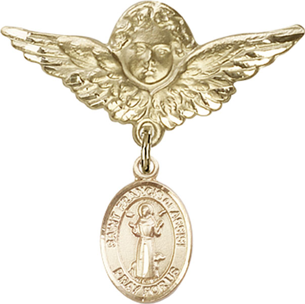 Baby Badge Pin with St. Francis of Assisi Charm on Angel with Wings Badge Pin in 14 Karat Gold by Bliss Mfg. Makes Great Catholic Baby Baptism Gift. Made in the USA!