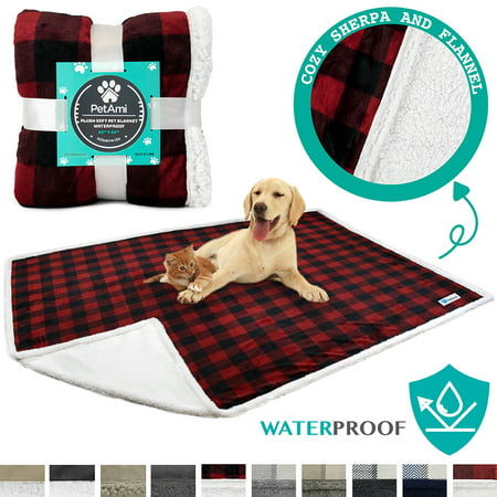 3513259dbcd61 PetAmi Waterproof Dog Blanket for Bed Couch Sofa | Warm Sherpa Pet Throw  Blanket | Super Soft Microfiber Fleece | Reversible Design for Puppy and ...