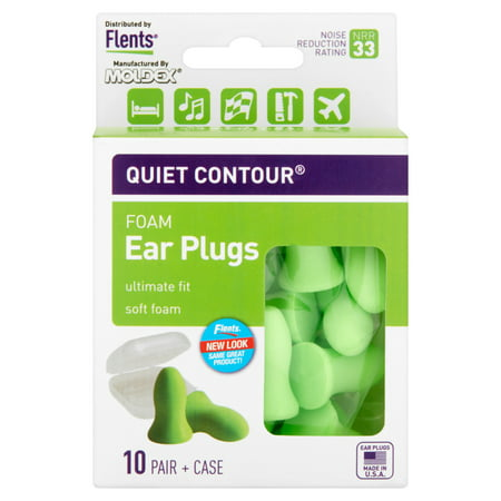 Moldex Flents Quiet Contour Foam Ear Plugs, 10 pair + (Saddle Ear Lobe Plugs)