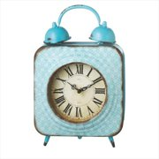 Pack of 2 Distressed Finish Baby Blue Patterned Desk Clocks 12.25""