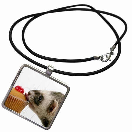 3dRose Ferret Eating Cupcake - Necklace with Pendant (ncl_17288_1) - Cupcake Jewelry