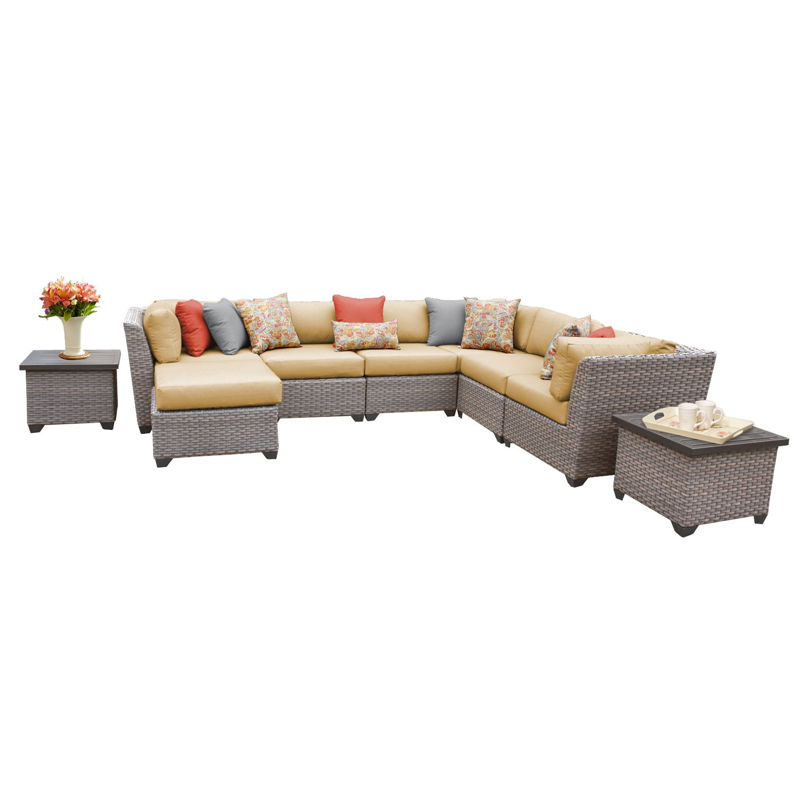 TK Classics Florence Wicker 9 Piece Patio Conversation Set with Ottoman and 2 Sets of Cushion Covers by Delacora