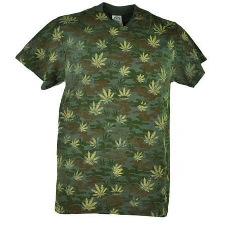 Marijuana Camouflage Distressed Camo Weed Cannabis Adult Green Tshirt Tee XLarge - Online Adult Stores