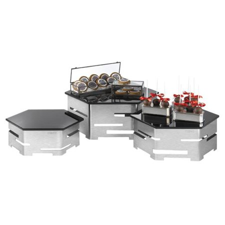 Rosseto Serving Solutions SK012 Stainless Steel and Black Glass 6-Piece Hexagon Buffet Riser Kit