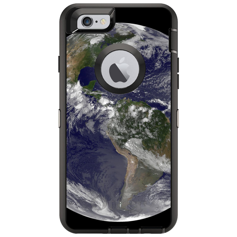 """DistinctInk™ Custom Black OtterBox Defender Series Case for Apple iPhone 6 Plus / 6S Plus (5.5"""" Screen) - Earth Space Western Hemisphere"""