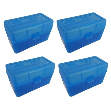 MTM 50 Round Flip-Top 270 Win 280 Rem 30-06 Rifle Ammo Box - Clear Blue (4