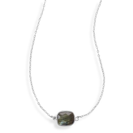 Genuine Labradorite Necklace Sterling Silver Adjustable Length