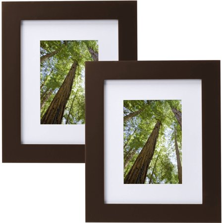 "Mainstays Museum 8"" x 10"" Matted to 5"" x 7"" Solid Wood Picture Frame, Mahogany, Set of 2"