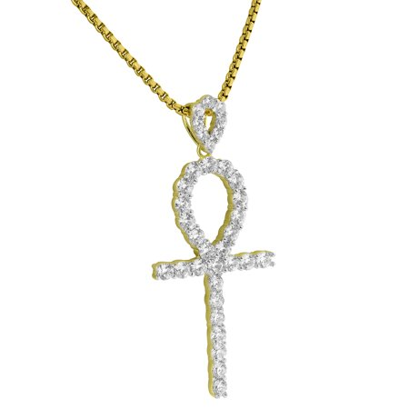 Solitaire Ankh Cross Pendant 14K Gold Over Sterling Silver Prong Set Lab Diamonds Chain