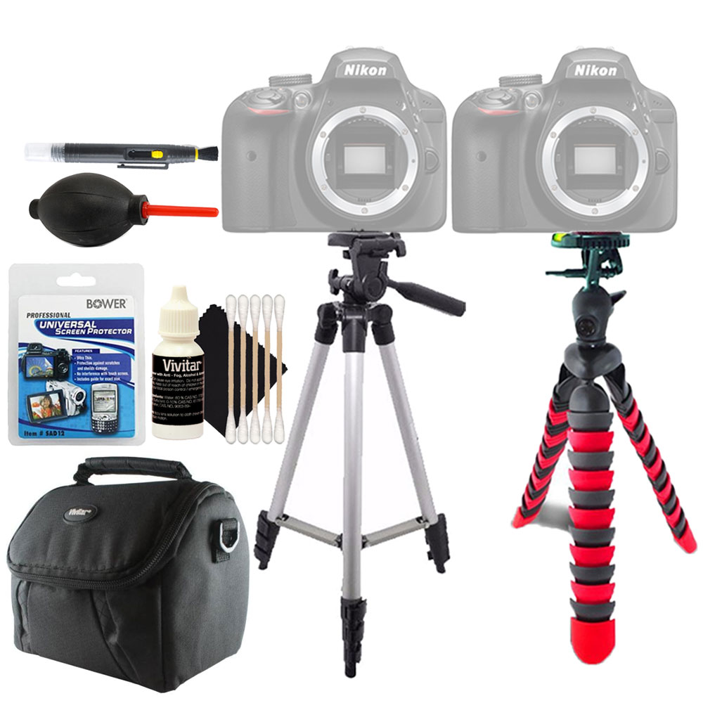 Tall and Flexible Tripod + Universal Screen Protector & Accessory Cleaning Kit For All Nikon Cameras