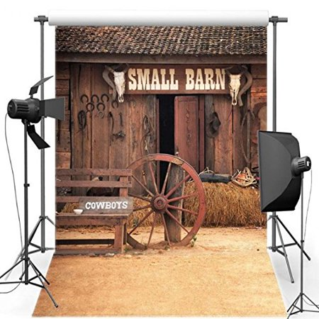 Old Barnyard (HelloDecor Polyster 5x7ft Barnyard Old Country Barn Door backgrounds wall party)