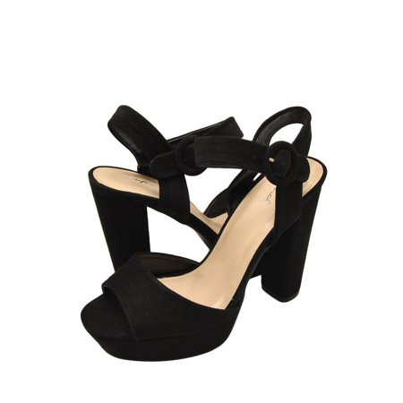 1efd156d24b21 Qupid Iconic 01 Womens Shoes Faux Suede Open Toe Chunky Heel Black