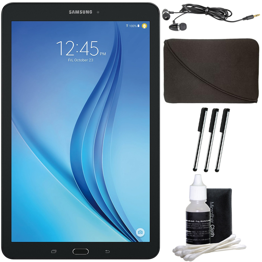 "Samsung Galaxy Tab E 9.6"" 16GB Tablet PC (Wi-Fi) - Black Accessory Bundle includes Tablet, Cleaning Kit, 3 Stylus Pens, Metal Ear Buds and Protective Sleeve"