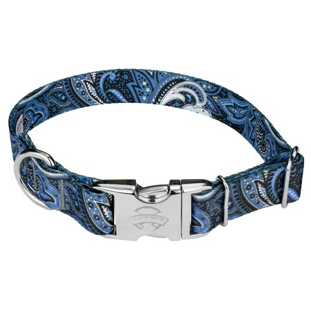 country brook design premium blue paisley dog collar