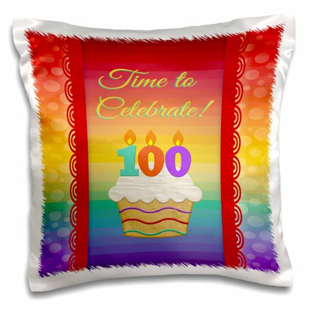 3dRose Cupcake, Number Candles, Time, Celebrate 100 Years Old Invitation - Pillow Case, 16 by