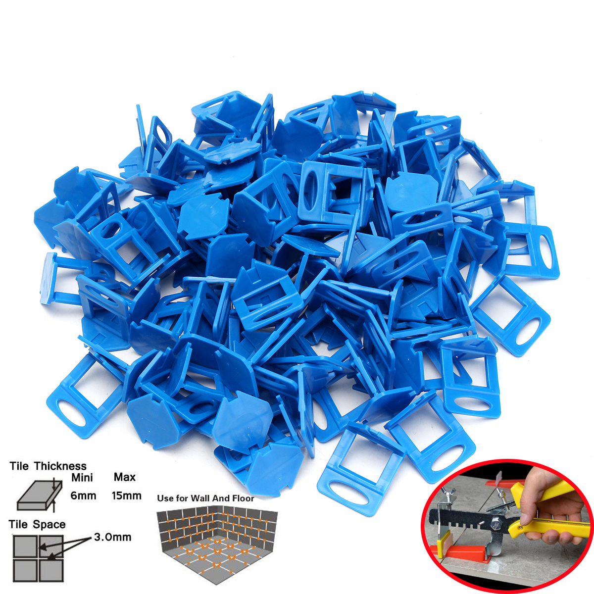 200/400/800x White/Blue wedge Plastic Clips Tile Spacers Leveler Ceramic Wall Floor Leveling System Tool, 1.0mm/1.5mm/2mm/3mm