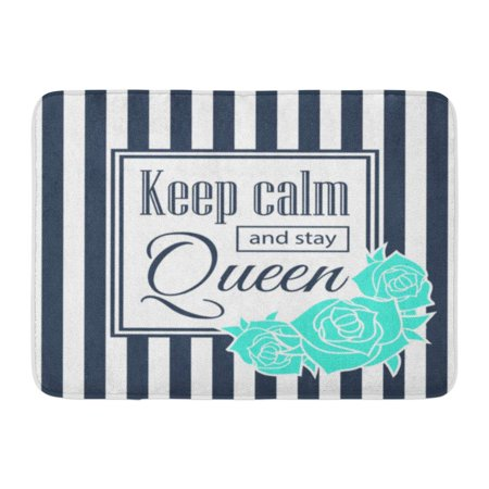 Rose Scarlet Rose - GODPOK White Blossom Pink Antique Keep Calm and Stay Queen Design with Blue Rose Striped Backgound Red Beautiful Rug Doormat Bath Mat 23.6x15.7 inch