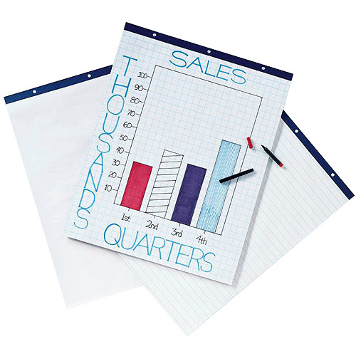 "School Smart Cross Ruled Easel Pad, 27"" x 34"", 16 lb, White, 50 Sheets, Pack of 4"