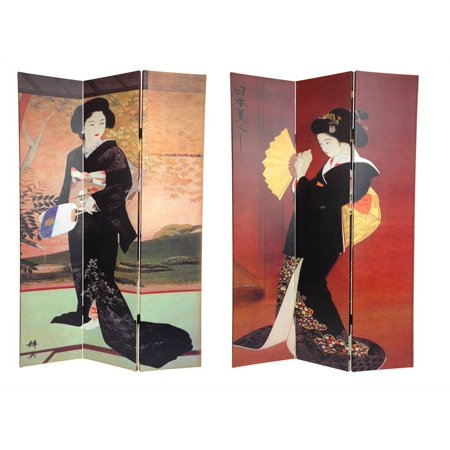 Double Sided 6 Ft. Japanese Ladies Privacy Screen - 3 Panels - Oriental Screen
