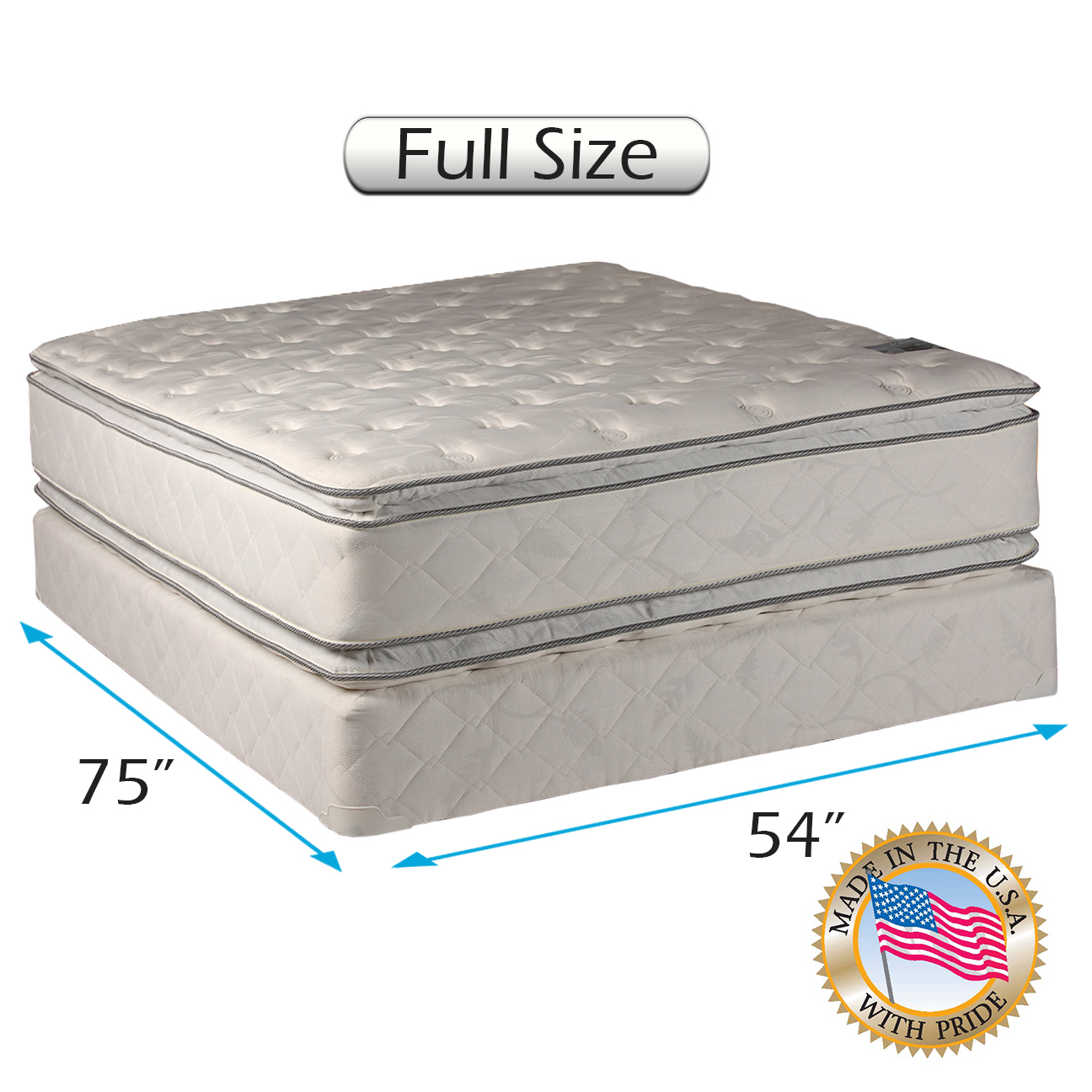 Serenity Pillowtop - (Full Size) Medium Soft Mattress set Bed Frame Included Double-Sided Sleep System with Enhanced Cushion Support - Fully Assembled, Back Support, Longlasting by Dream Solutions USA