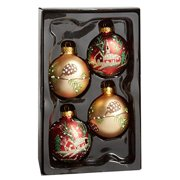 Nantucket Home Glass Christmas Ornaments, 2.5-Inch, 4-Pack (Pinecone & Church)