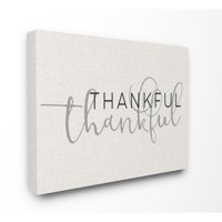 The Stupell Home Decor Collection Thankful Typography Oversized Stretched Canvas Wall Art, 24 x 1.5 x 30