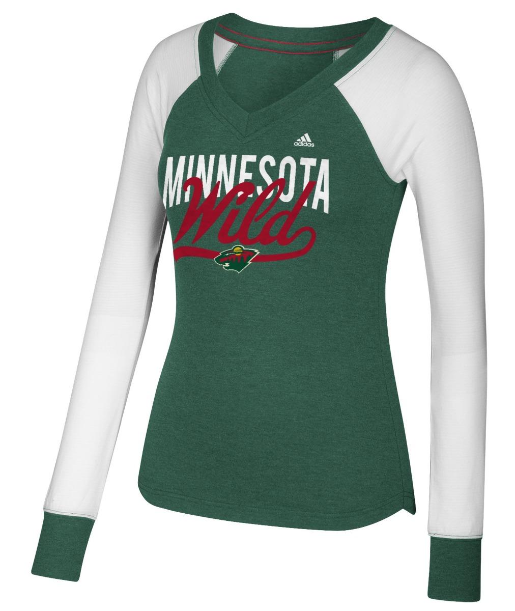 "Minnesota Wild Women's Adidas NHL ""Puck Drop"" Dual Blend Long Sleeve T-shirt by Adidas"