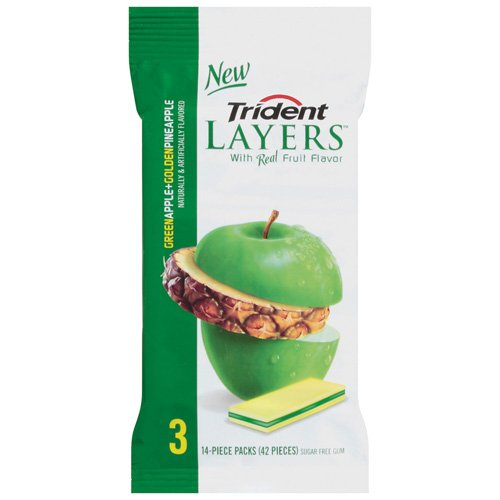 Trident Layers Green Apple + Golden Pineapple Sugarless Gum, 3pk