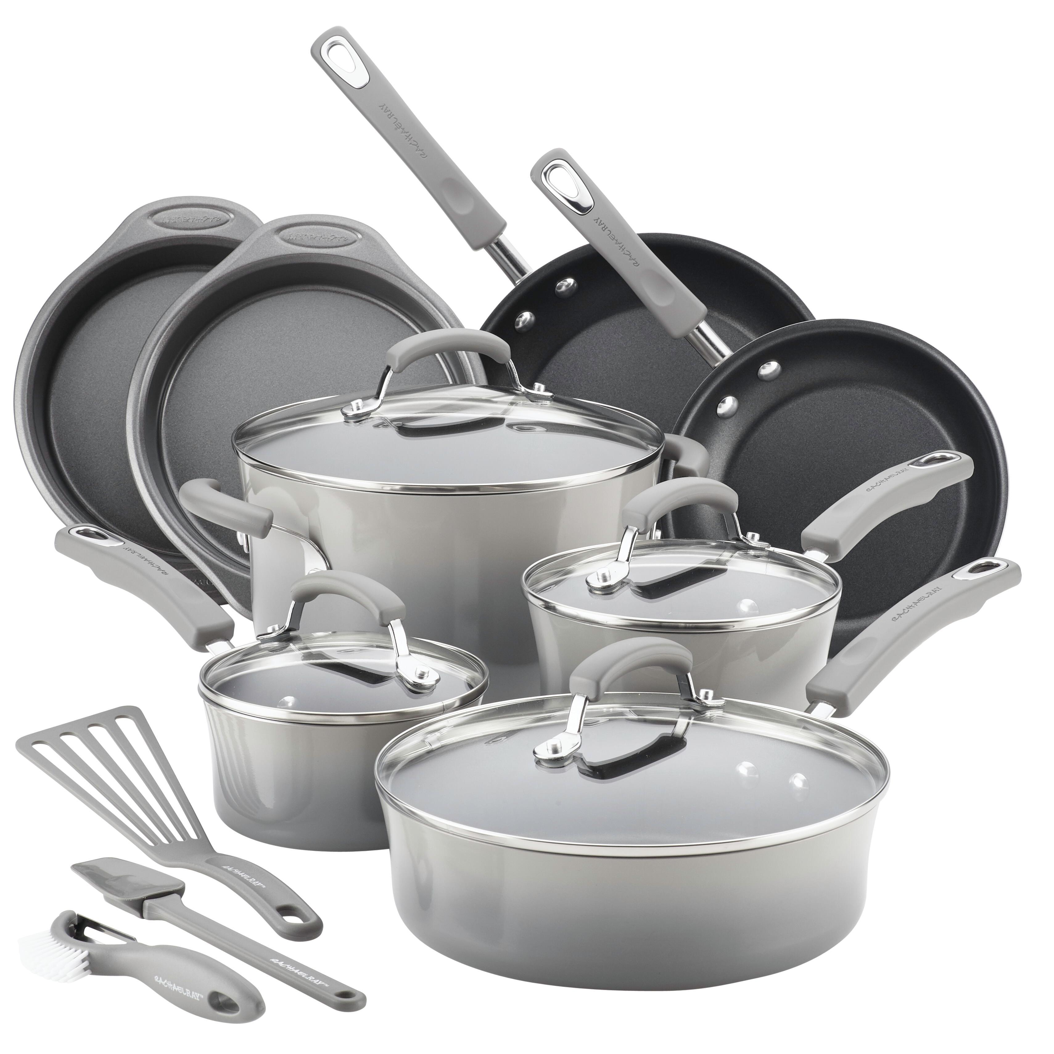 Rachael Ray 15 Piece Hard Enamel Aluminum Nonstick Cookware Set, Gray