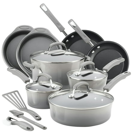Rachael Ray 15 Piece Hard Enamel Aluminum Nonstick Cookware (5 Piece Roaster Set)