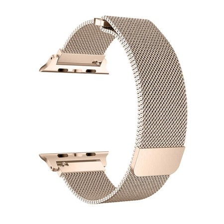 Apple Watch Band 42/44MM, Stainless Steel Mesh Milanese Loop with Adjustable Magnetic Closure with Clear Hard Case for Apple Watch Series 5 4 3 2 1 (42mm/44mm Gold)