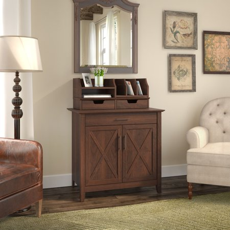 Key West Laptop Storage Desk Credenza with Desktop Organizers in Bing Cherry ()