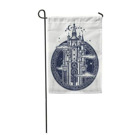 KDAGR Medieval Castle Tattoo Symbol of The Fairy Tale Dream Garden Flag Decorative Flag House Banner 12x18 (Medieval Fairy Tales)