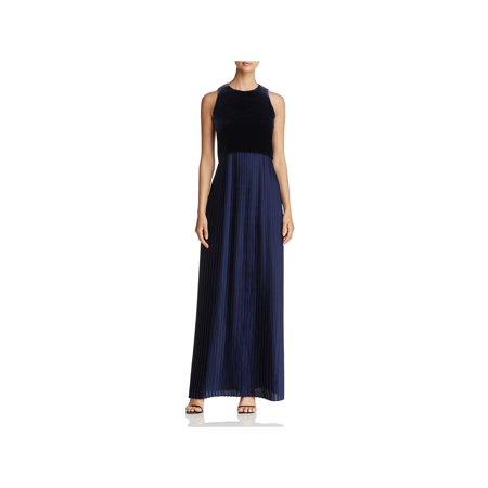 Lafayette 148 New York Womens Marsiela Velvet Top Pleated Evening Dress Navy XL