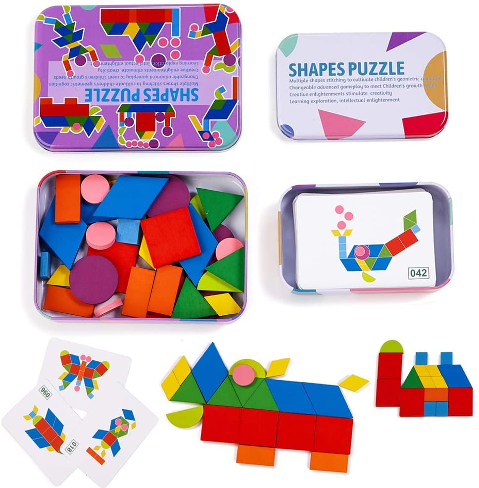 HATINY Pattern Blocks Jigsaw Puzzle Sorting and Stacking ...