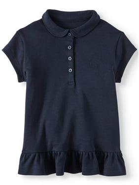 Wonder Nation Toddler Girls 2-5 School Uniform Ruffle Hem Short Sleeve Polo Shirt