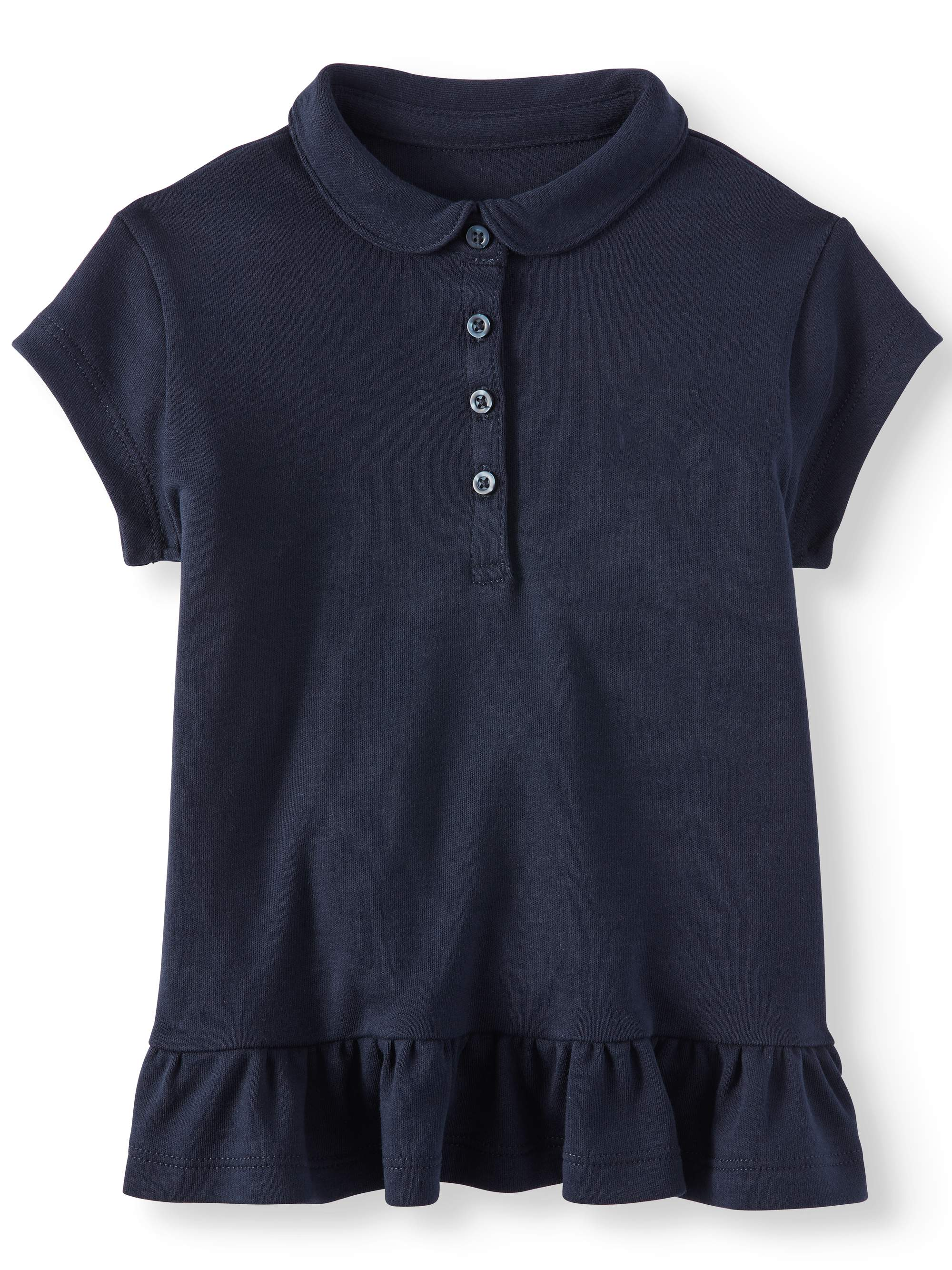 Toddler Girls School Uniform Ruffle Hem Tunic