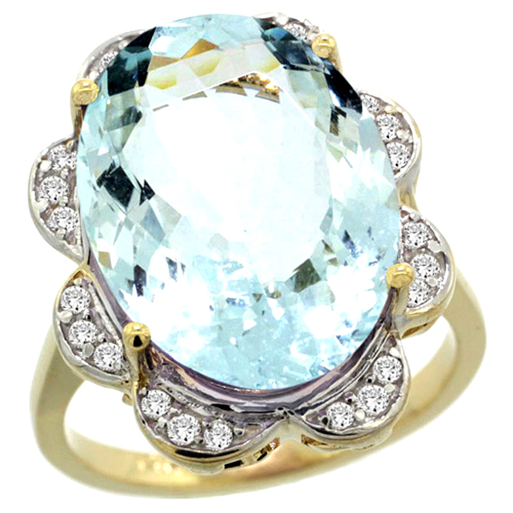 14k Yellow Gold Natural Aquamarine Ring Oval 18x13mm Diamond Floral Halo, 3 4inch wide, size 6 by Gabriella Gold