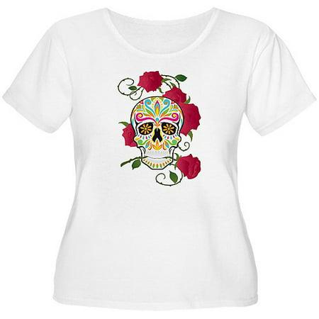 a63909952785c Women s Plus-Size Rose Sugar Skull T-Shirt - Walmart.com