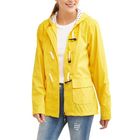 Climate Concepts Women's Hooded Toggle Rain Slicker Jacket Womens Toggle Coat