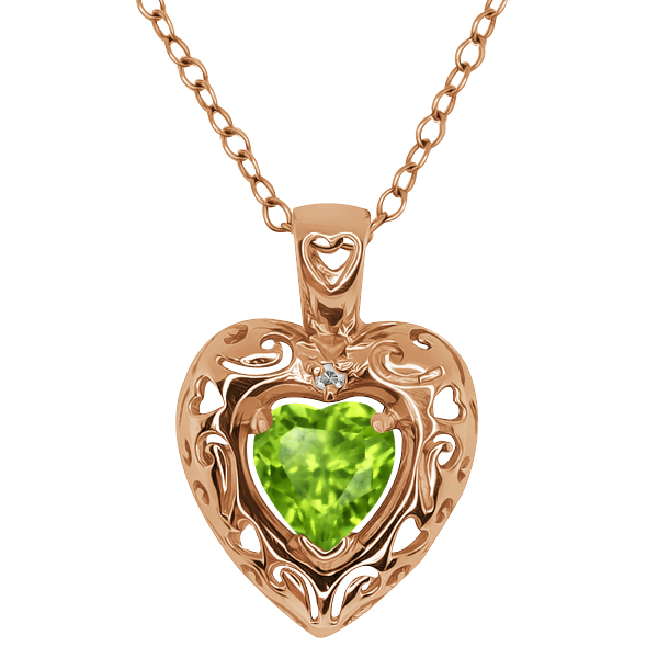 0.85 Ct Heart Shape Green Peridot and Topaz Gold Plated Silver Pendant
