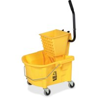 Genuine Joe GJO60466 Splash Guard Mop Bucket and Wringer, 6.5 gallon Capacity, Yellow