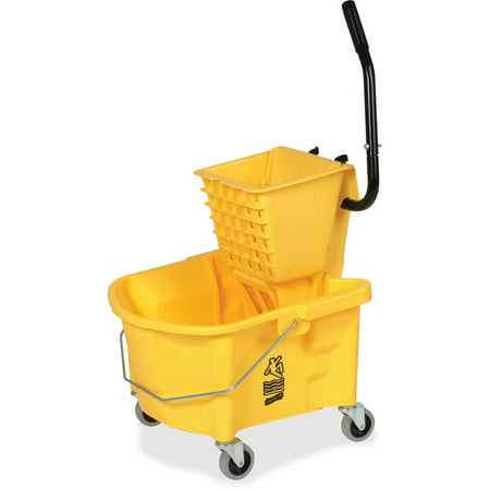 Genuine Joe GJO60466 Splash Guard Mop Bucket/Wringer, 6.50 gallon Capacity, Yellow