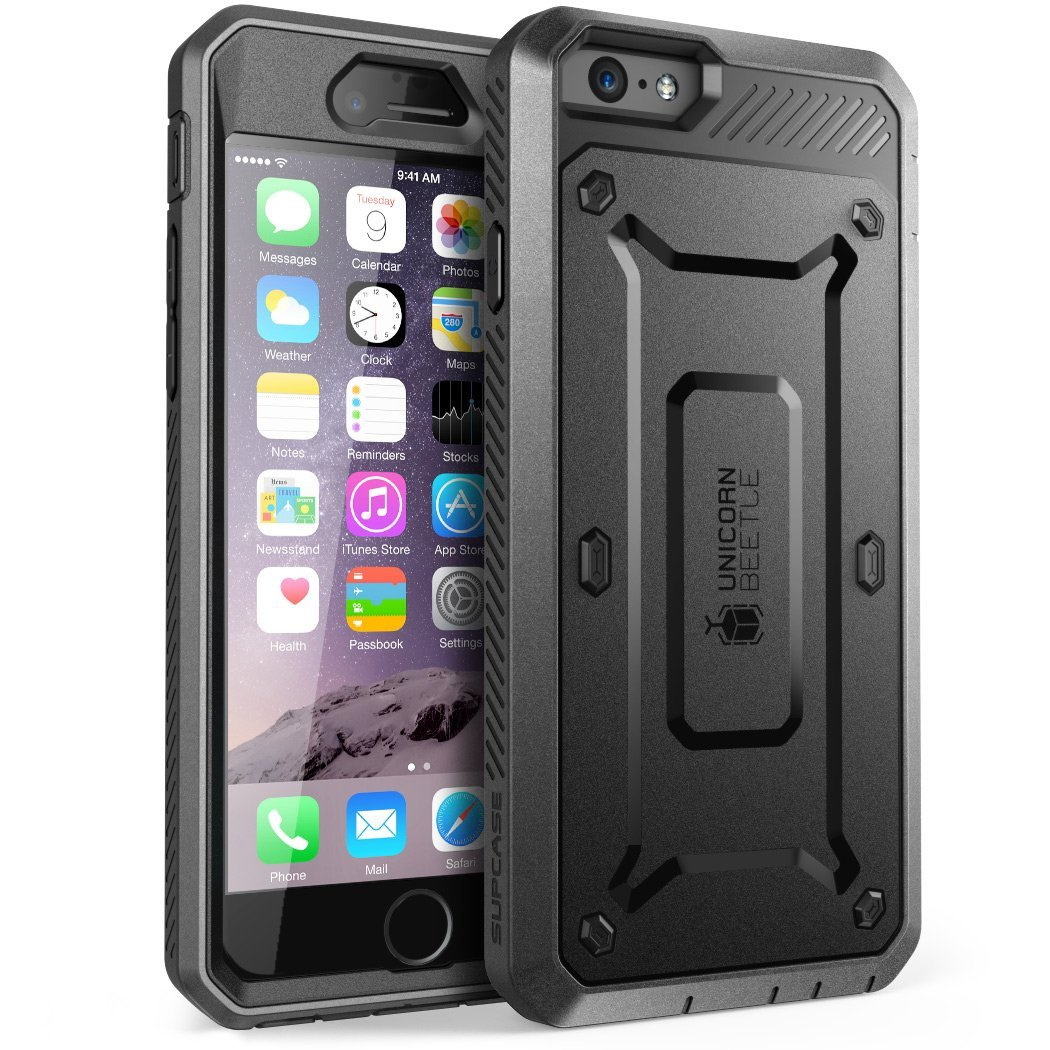iPhone 6S Case, Supcase, Apple iPhone 6 Case, 4.7 Inch, Rugged Holster Cover with Built-in Screen Protector-Black/Black