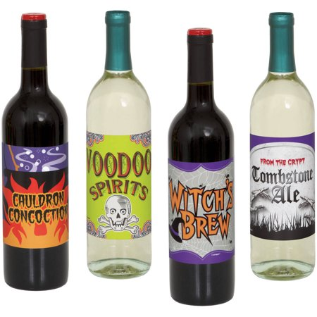 Halloween Wine Bottle Labels, 4-Count