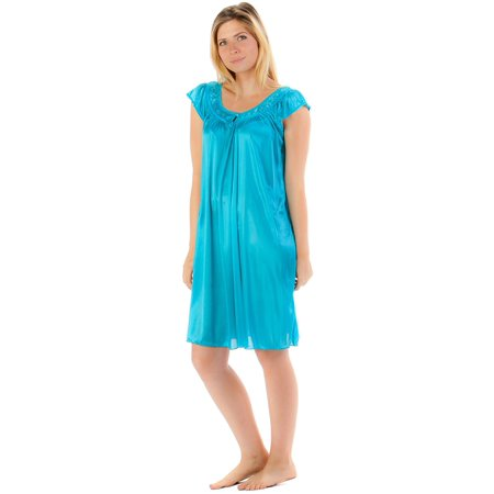 Embroidered Satin Gown (Casual Nights Women's Satin Nightgown Embroidered Lace Cap Sleeve -)