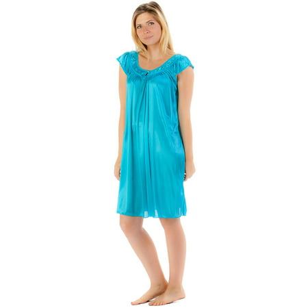 Casual Nights Women's Satin Nightgown Embroidered Lace Cap Sleeve - Aqua - Nightshirt And Cap